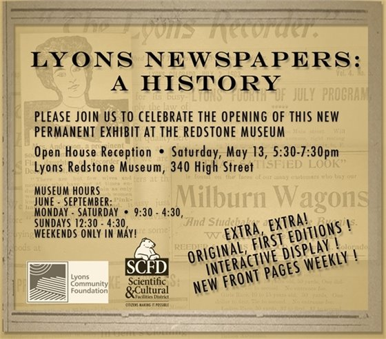 Lyons Newspapers: New Permanent Exhibit at Redstone Museum